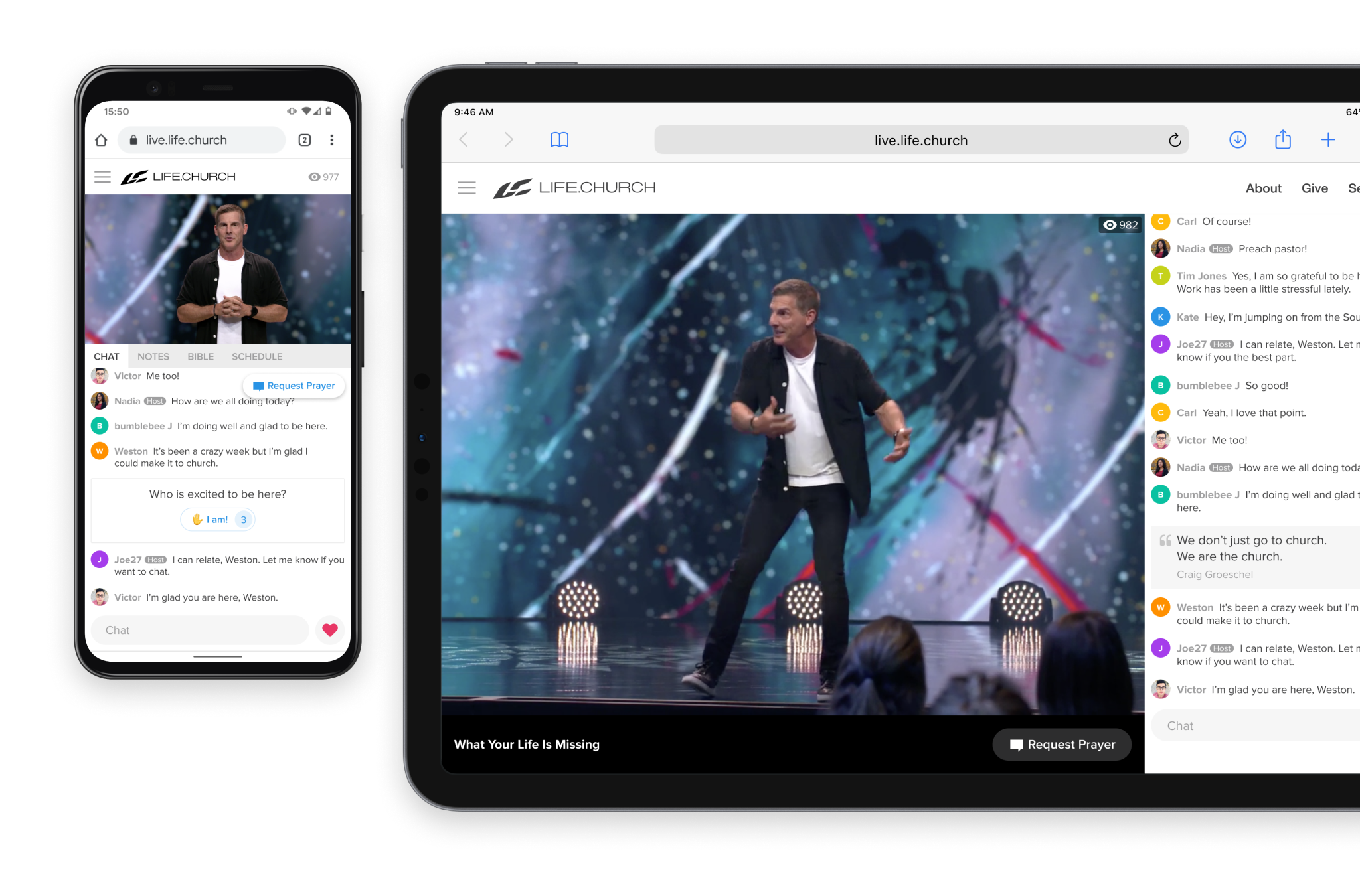 Online church experience on a tablet