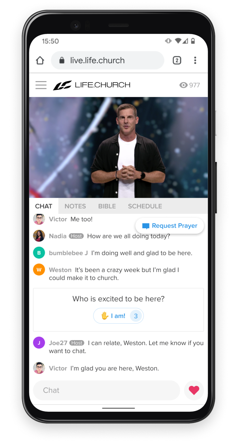 Online church experience on a phone