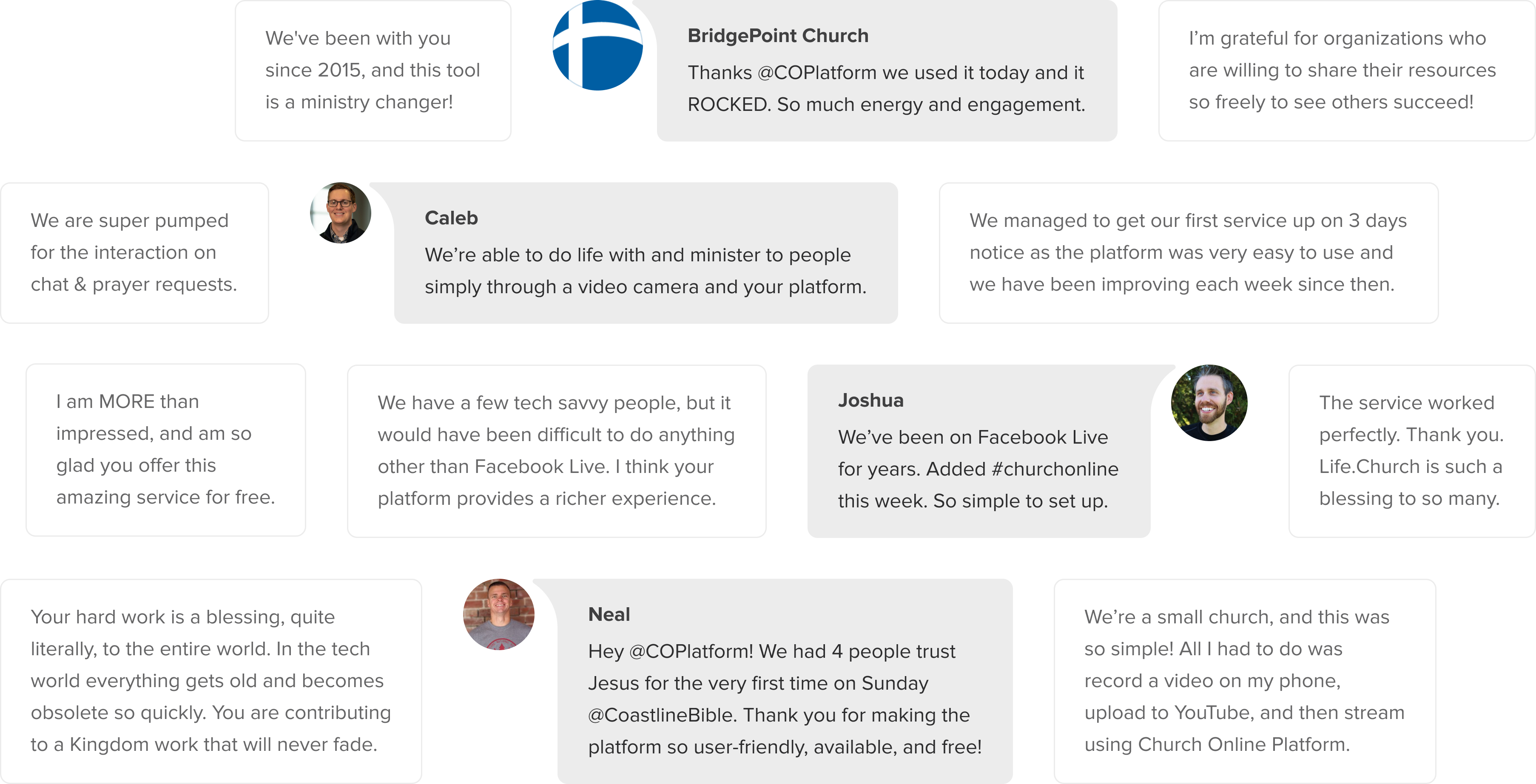 Wall of quotes about the Church Online Platform
